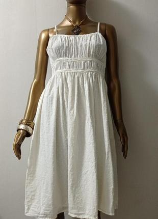 Платье женственная нежность молочного цвета фактурный хлопок прошва