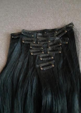Искуственные волосы на заколках 50см прямые густые