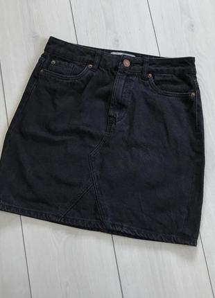 Джинсовая мини юбка new look denim uk8