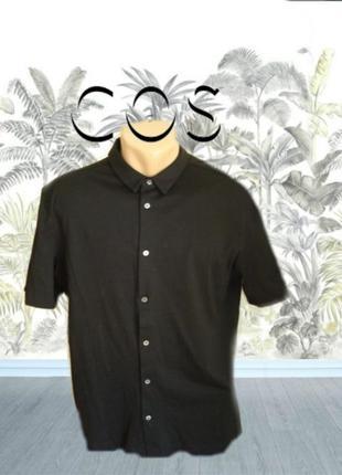Cos оригинал трикотажная хлопковая футболка поло пуговицы до конца черная l