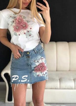 Костюм комплект джинсова юбка ,футболка