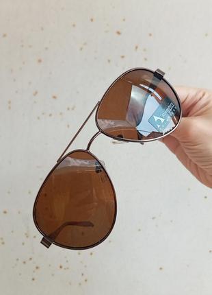 Стильные качественные коричневые очки капли авиаторы polarized унисекс алюминиевые дужки