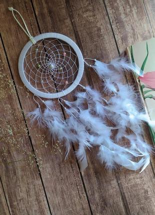 Воздушный белый ловец снов. оригинальный подарок, декор