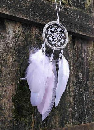 Белый ловец снов из ивы. оригинальный подарок, декор