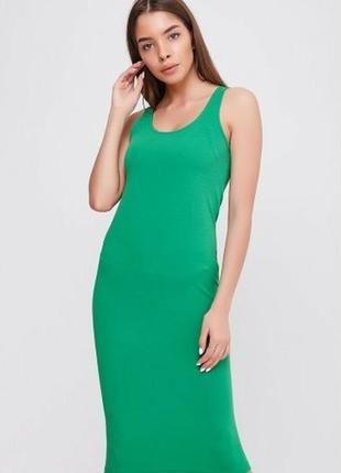 Зелёное платье майка миди