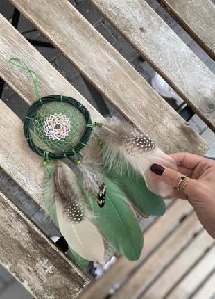 Зеленый ловец снов из ивы. оригинальный подарок, декор.