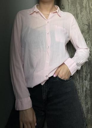 Рубашка нежно-розовая h&m хлопковая
