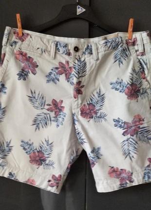 Plus-size! шорты светлый яркий цветочный принт плотный хлопок m&s