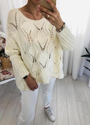 Италия молочный свитер ажурной вязки крой оверсайз