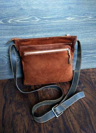 Итальянская замшевая  сумка 100% натуральная кожа ( кросс боди / кожаная )