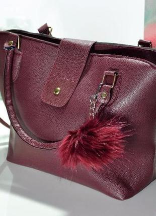 Очень крутая и стильная вместительная сумка zara с меховым помпоном цвет марсала