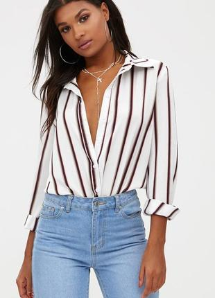 Скидка идеальная сатиновая рубашка/блуза prettylittlething в полоску s-m,блузка