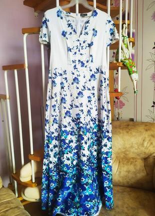 Летнее платье в пол в синие незабудки