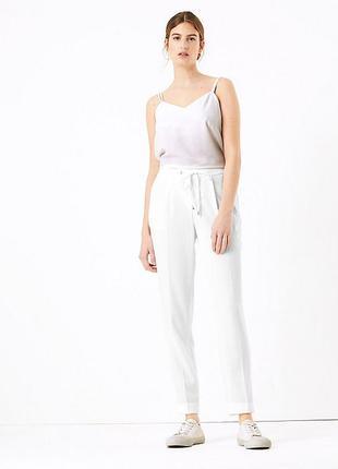 Белые брюки marks&spencer штаны на резинке тонкие брюки батал штаны джогеры