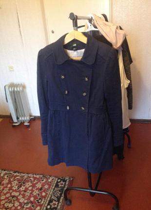 Пальто двубортное синее h&m - xs\s