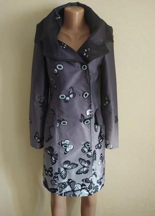 Плащ пиджак удлиненный черный серый бабочки красивый иетересный
