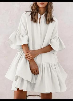 Летнее повседневное платье - рубашка  расклешенное  с оборками