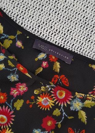 Скидка красивая блуза marks & spencer в цветочный принт m&s, блузка вишиванка вышиванка