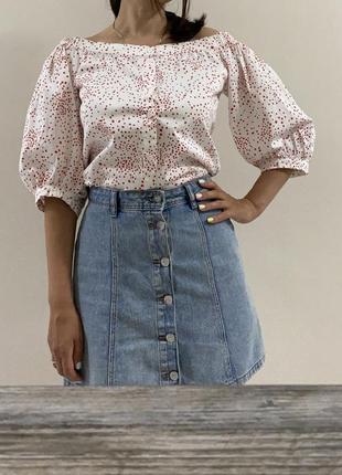Хлопковая блуза в горох h&m