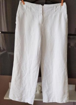 Белые льняные широкие брюки next