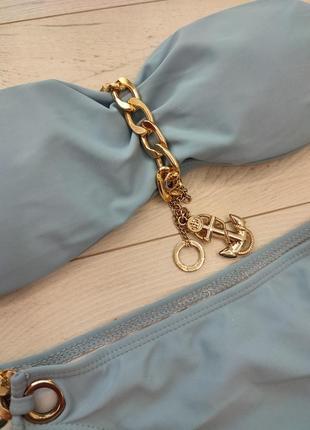 Сіро голубий блакитний купальник золота цепь цепочка якір корона2 фото