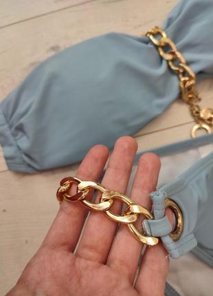 Сіро голубий блакитний купальник золота цепь цепочка якір корона3 фото