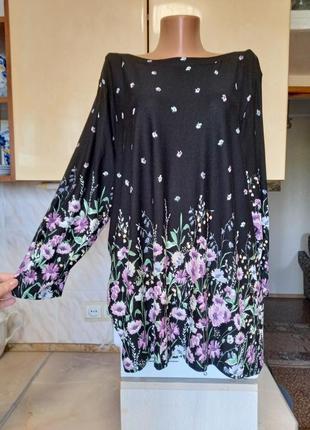 Натуральная плотная блуза тонкий джемпер батал вискоза поб 67++