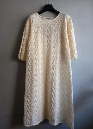 Ажурное вязаное платье сливочного цвета , orsey