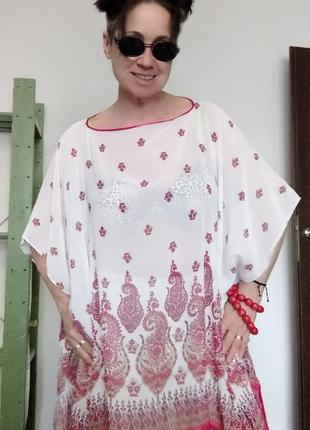 Туника  оверсайз белое с красным кисти miss moda