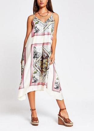 Асимметричное сатиновое платье-миди с узором patchwork/ сарафан в цветы river island как новое