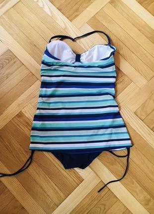 Батал большой размер сдельный слитный полосатый купальник купальничек4 фото