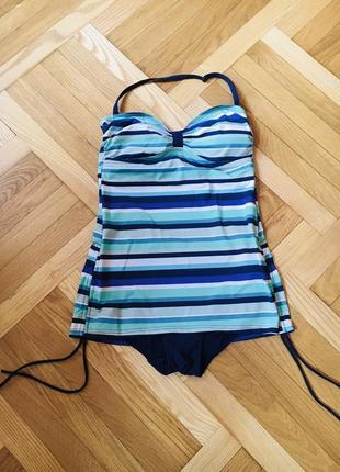 Батал большой размер сдельный слитный полосатый купальник купальничек1 фото