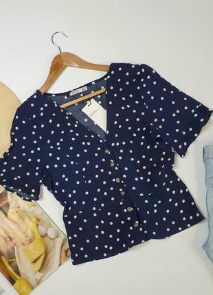 Блуза bershka в горошек ( топ на пуговицах )