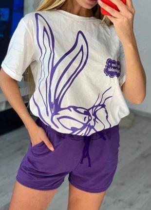 Красивенький женский костюм на лето  футболка и шорты5 фото