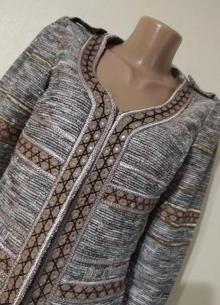Пиджак дакет кардиган коричневый красивый вышиванка2 фото