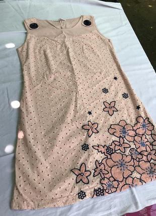 Хлопковое розовое платье в цветочный принт, новое!