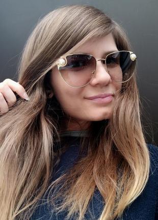 Новые стильные очки с бусинами по бокам, зеленые