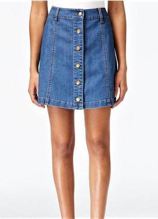 Джинсовая юбка на пуговицах спереди h&m eur 34