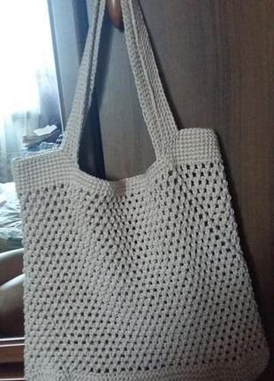 Новая вязаная сумка шоппер ручной работы1 фото
