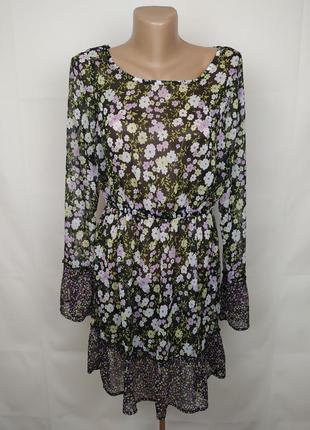 Платье легкое шифоновое красивое в цветы uk 12/40/m