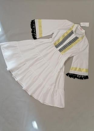 Белое свободное хлопковое платье оверсайс котон
