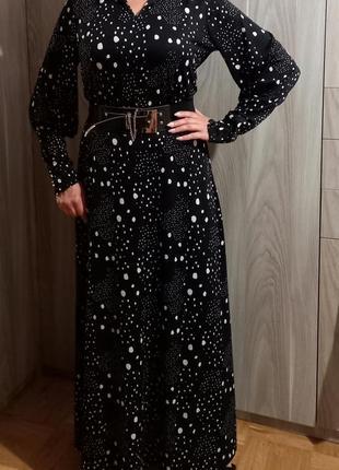 Длинное платье горох1 фото