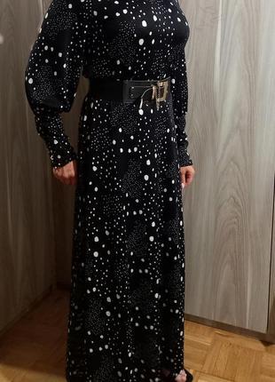 Длинное платье горох2 фото