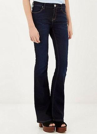 River island джинсы штаны брюки клеш длинные синие тёмные стрейчевые