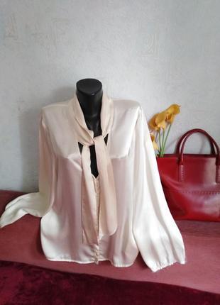Натуральный атласный жемчужный шелк, блузочка, есть нюанс