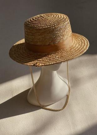 Шляпа конотье с цепочкой5 фото
