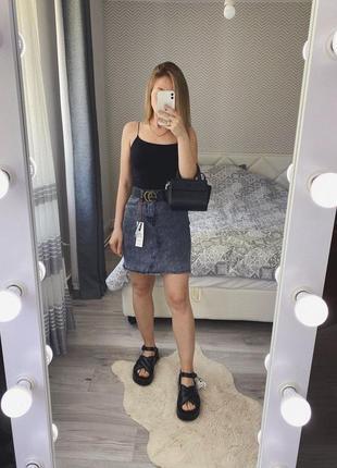 Новая графитовая юбка джинс трапецич