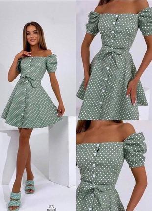 Платье коттон в горошек