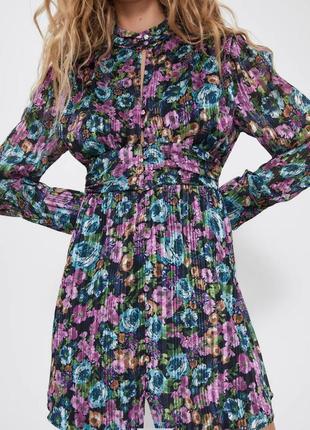 Zara платье полупрозрачное шифон нарядное с металлизированной нитью цветочный принт новое xs s 42 44