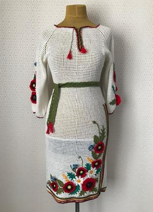 Невероятно красивое вязаное ажурное платье вышиванка hand made, размер укр 44-46-48